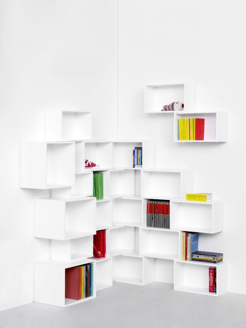 Bibliothèque d'angle blanche design