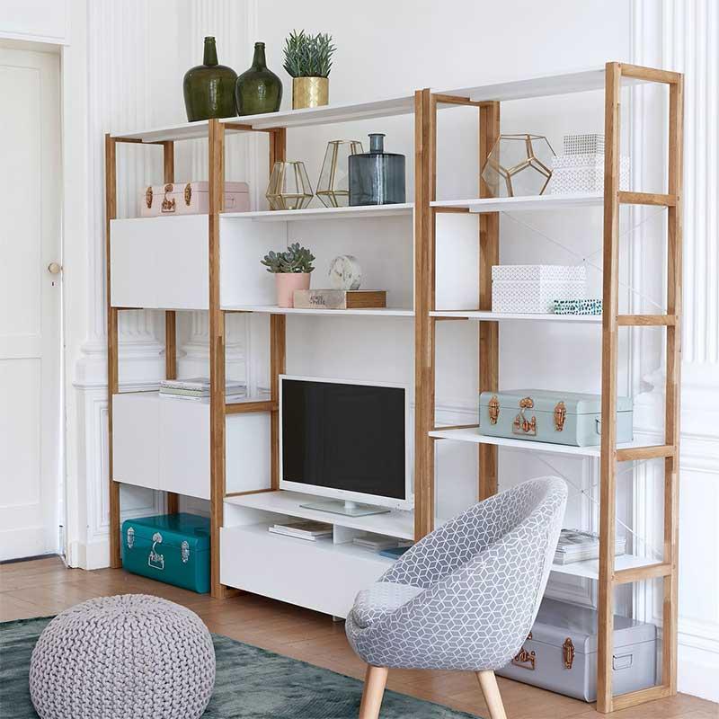 Bibliothèque blanche et bois