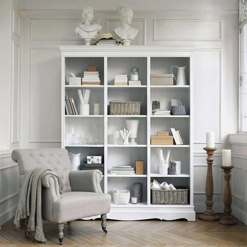Bibliothèque style classique blanche