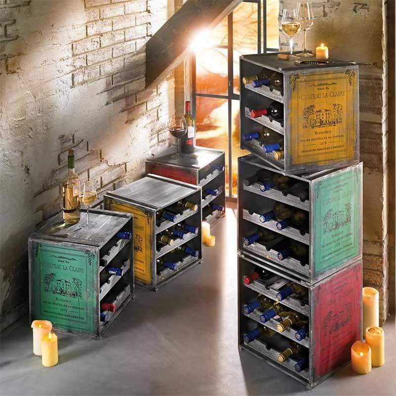 Casier esprit vintage ranger bouteilles de vin