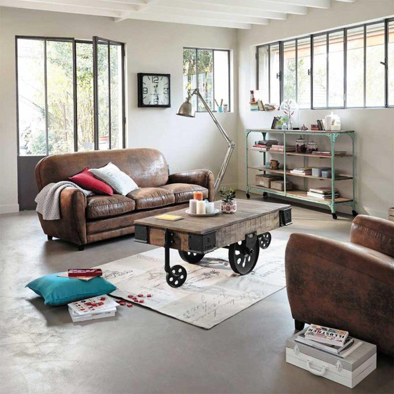 Table de salon en bois roues en métal