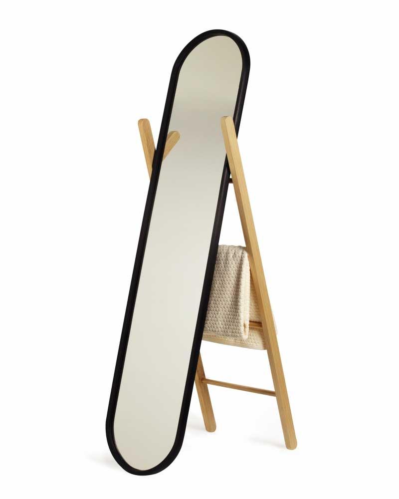 Valet miroir sur pied noir et bois