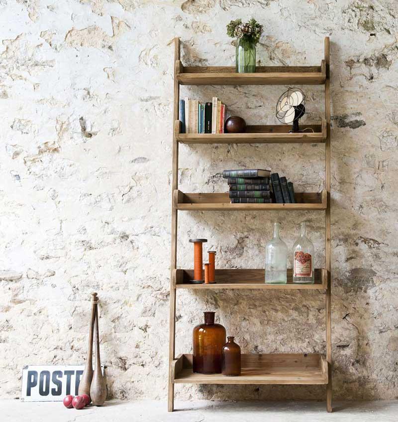 Bibliothèque échelle en bois pour déco industrielle