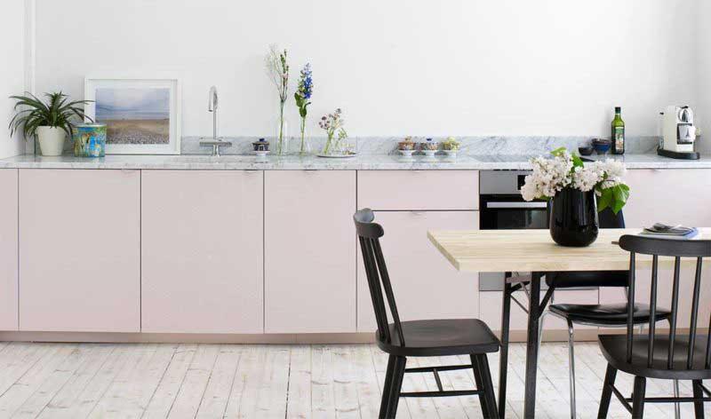 Cuisine design moderne rose