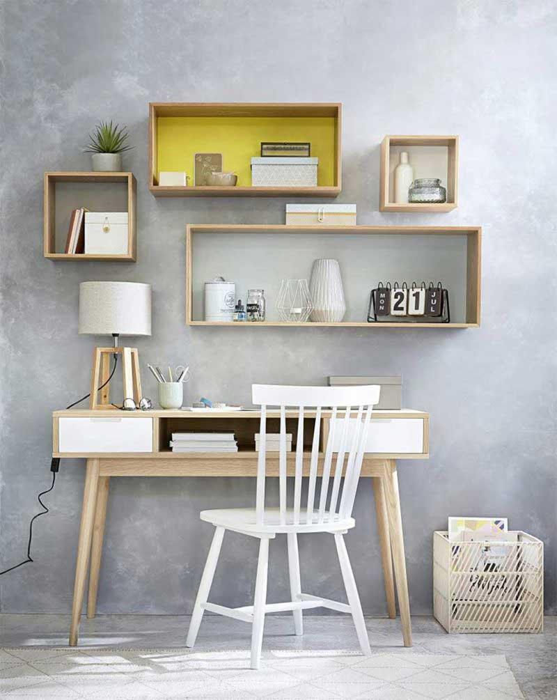 Bureau scandinave en bois avec tiroirs blanc