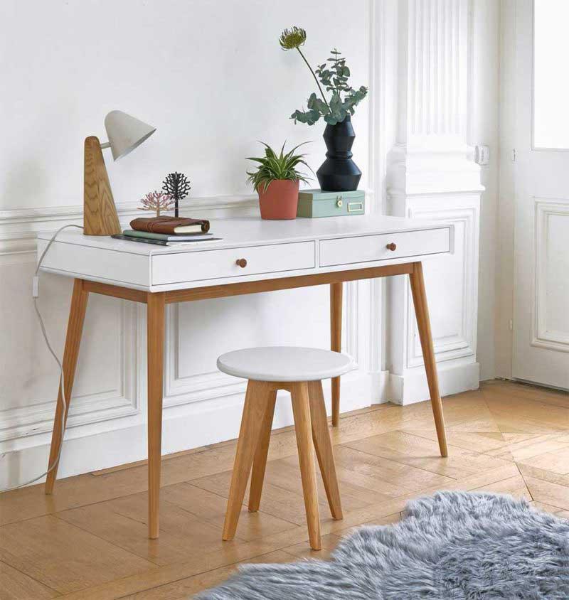 Bureau style déco nordique avec tiroirs
