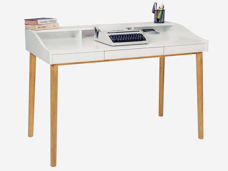 Bureau style scandinave blanc et bois