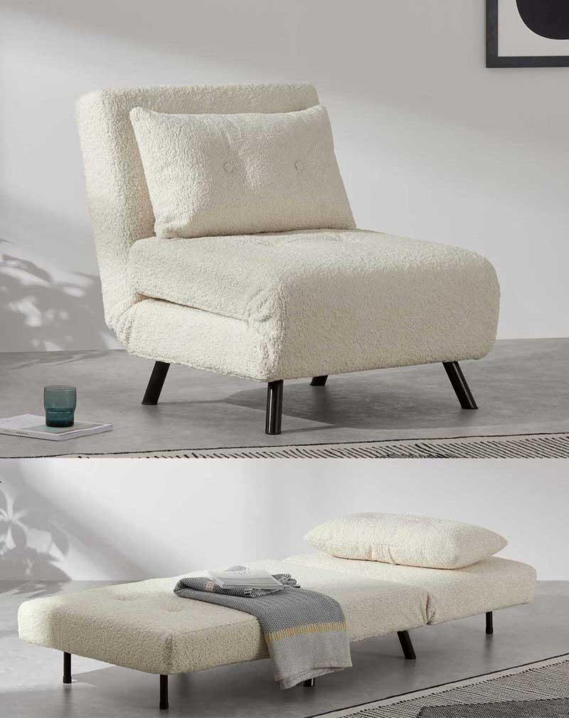Fauteuil scandinave convertible en lit tissu mouton blanc