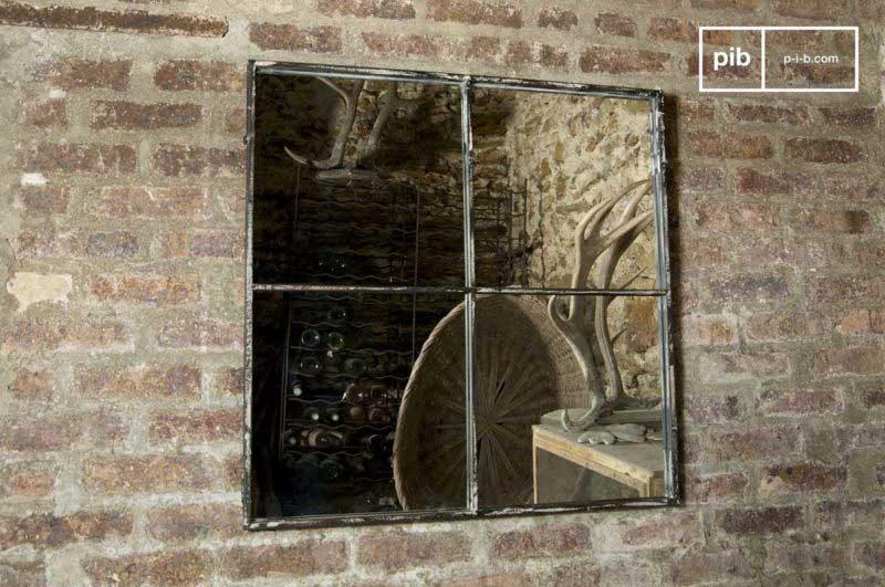 Miroir carré style verrière usine