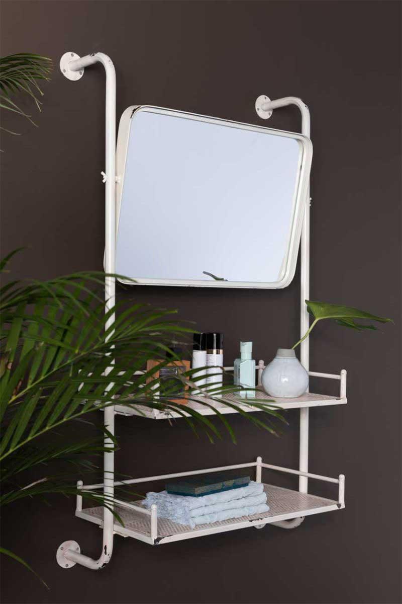 Étagère style déco industrielle avec miroir orientable intégré