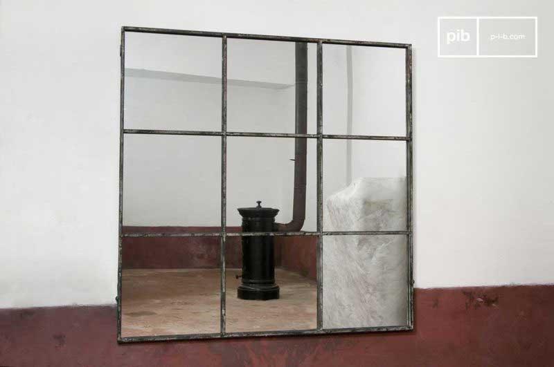 Miroir industriel carré style verrière d'atelier