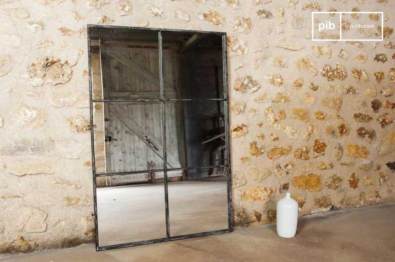 Miroir industriel en acier esprit verrière