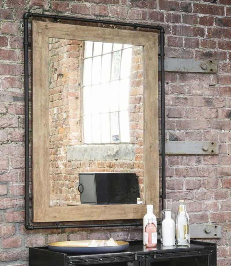 Miroir industriel en métal et bois