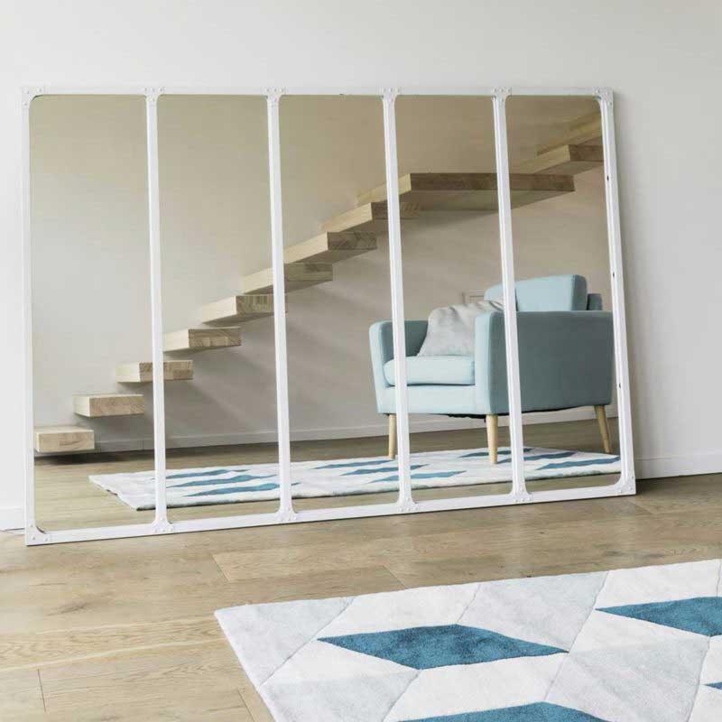 Miroir style industriel en métal blanc