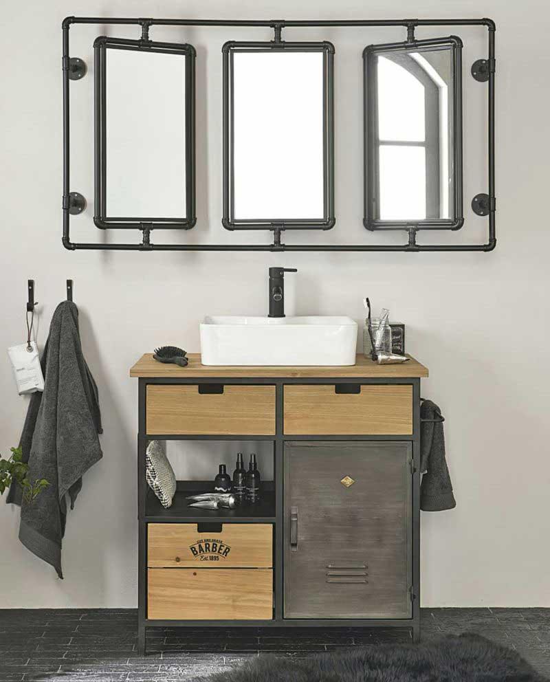 Miroir orientable tuyaux pour salle de bains industrielle