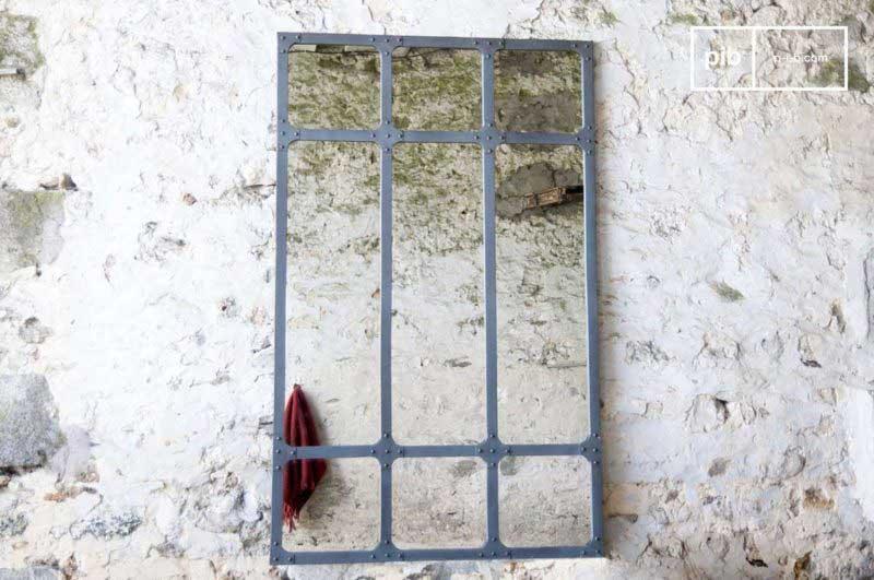 Miroir style verrière d'atelier