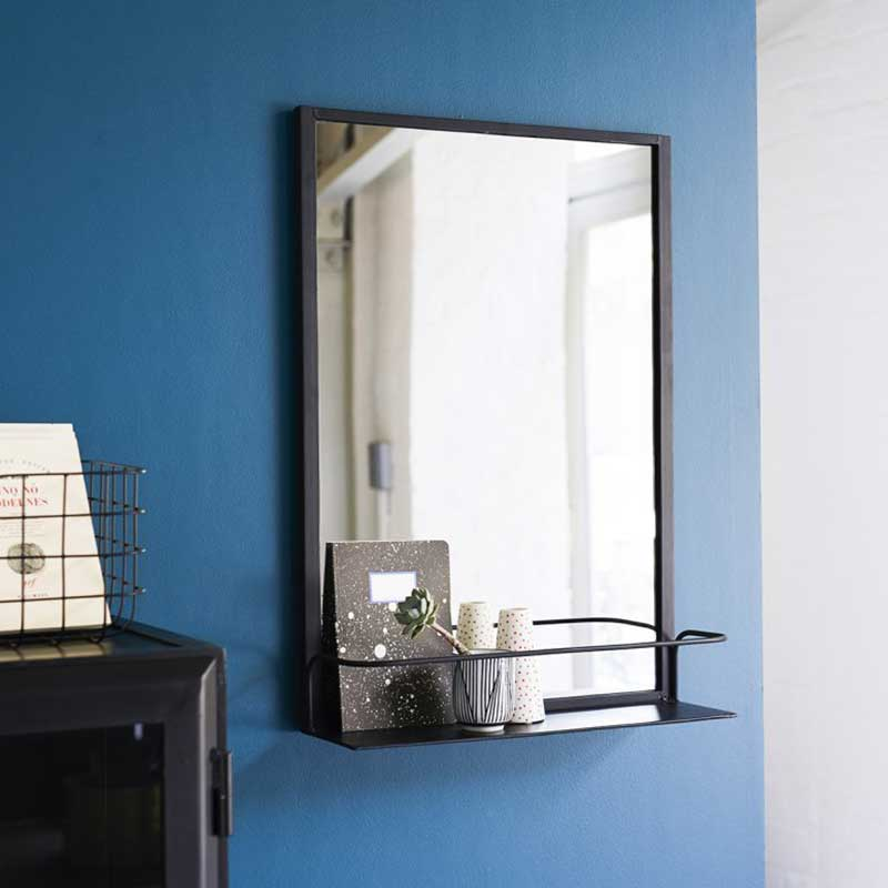 Petit miroir industriel avec étagère