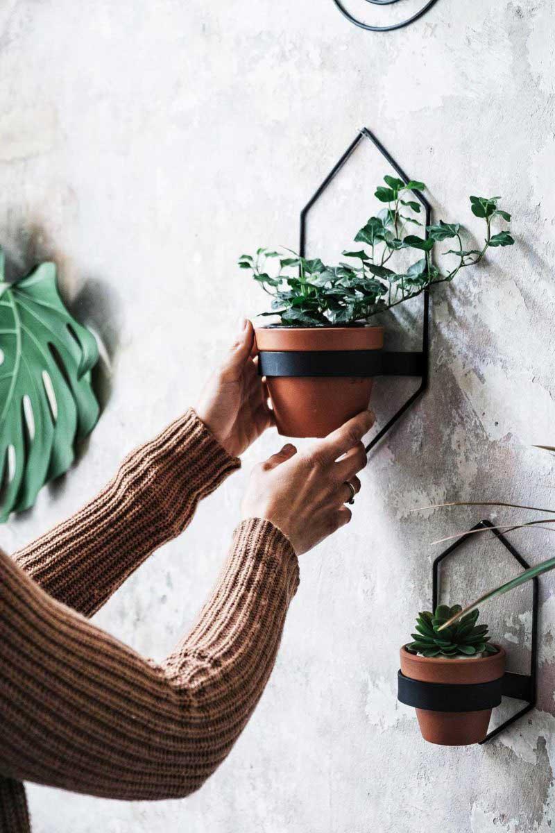 Support mural en métal pour pot de fleur en terre cuite