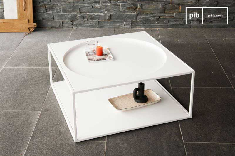 Table basse design carrée blanche