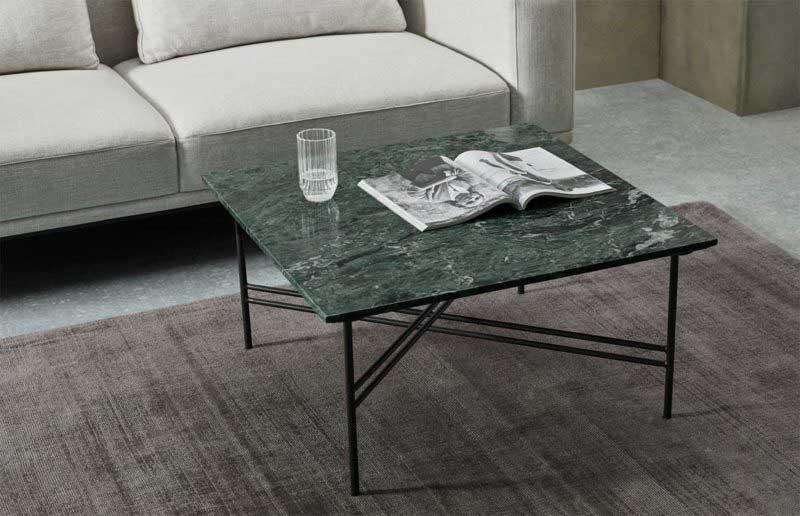 Table basse carrée en marbre vert