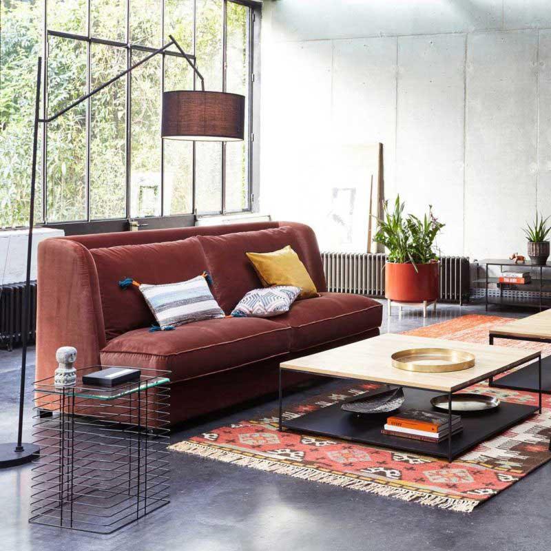 Table basse carrée en métal avec plateau bois