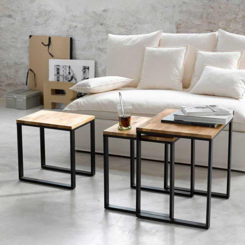 Table basse gigogne carrée métal et bois