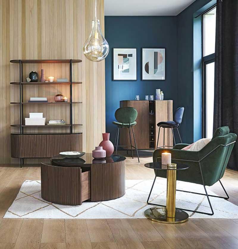 Table basse ronde contemporaine en bois avec plateau en verre