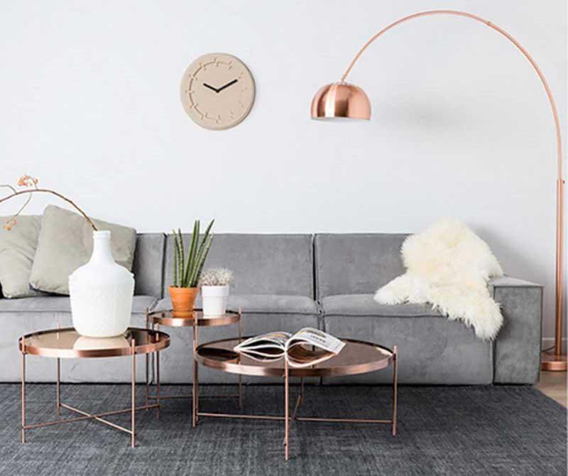 Table basse ronde couleur cuivre