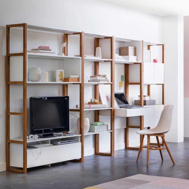 Bibliothèque blanche avec meuble TV scandinave intégré