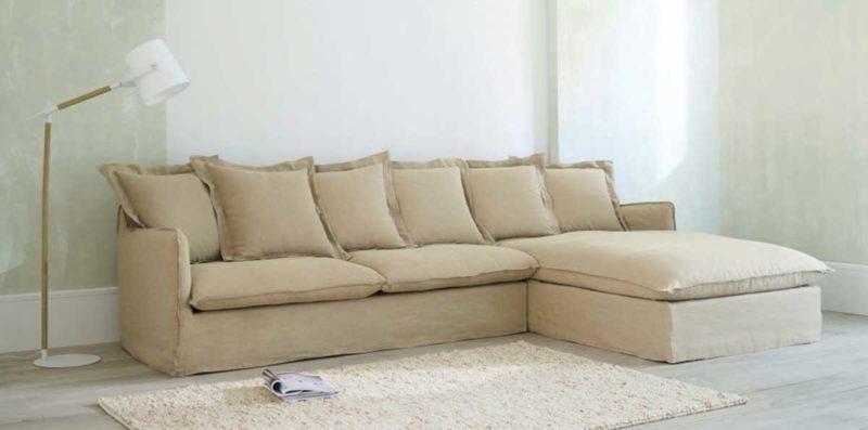Canapé d'angle beige en lin
