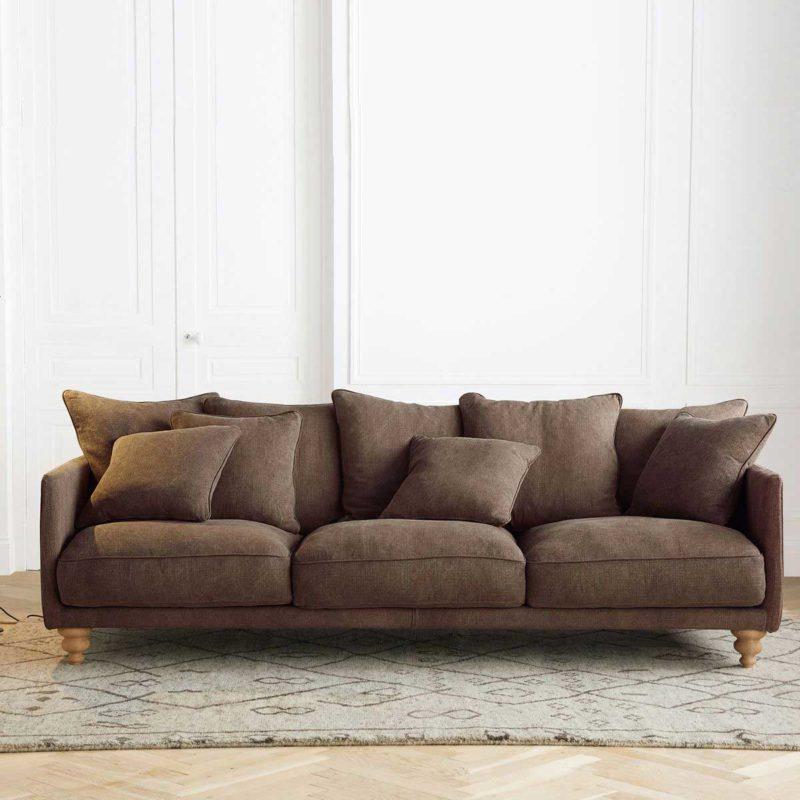 Canapé en lin marron