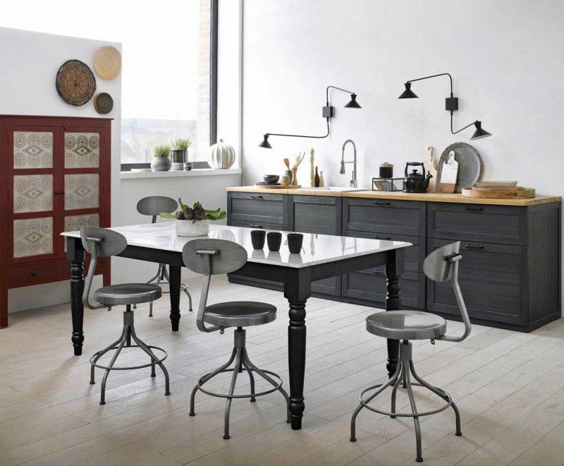 Chaise de salle à manger style industriel en métal