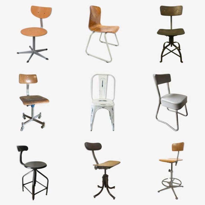 Chaise industrielle vintage vendue par des antiquaires