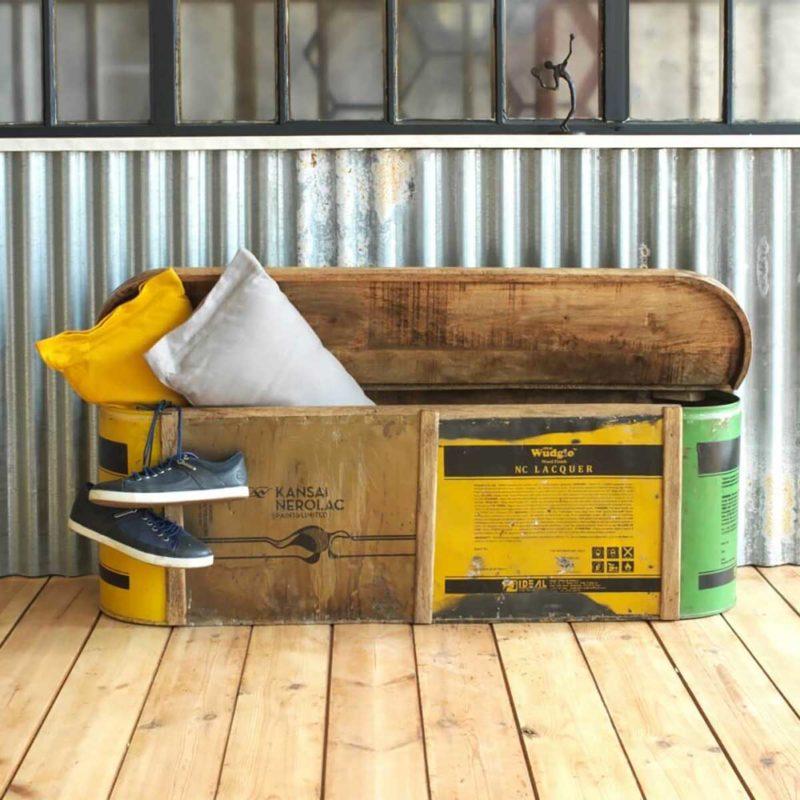 Coffre banc en bois recyclé