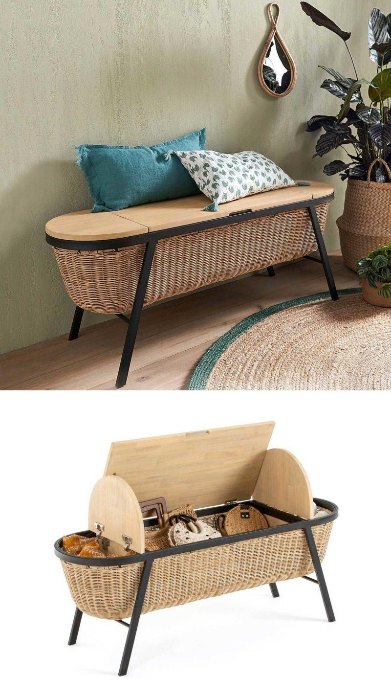 Design original pour ce coffre banc en osier