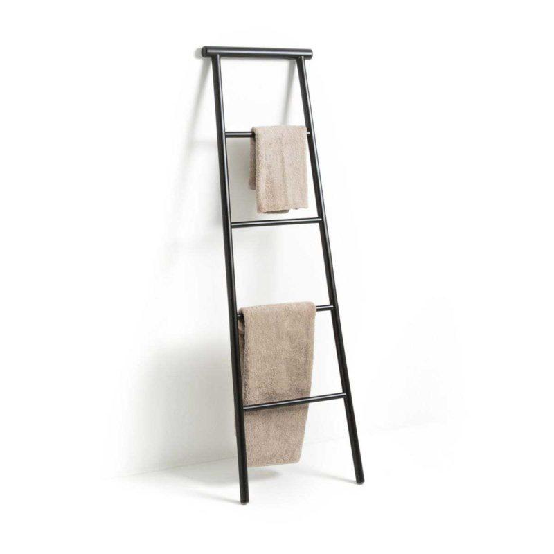 Échelle porte-serviettes au design moderne en bois noir