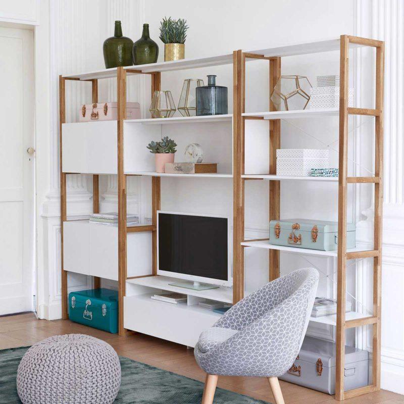 Grand meuble TV scandinave bois et blanc
