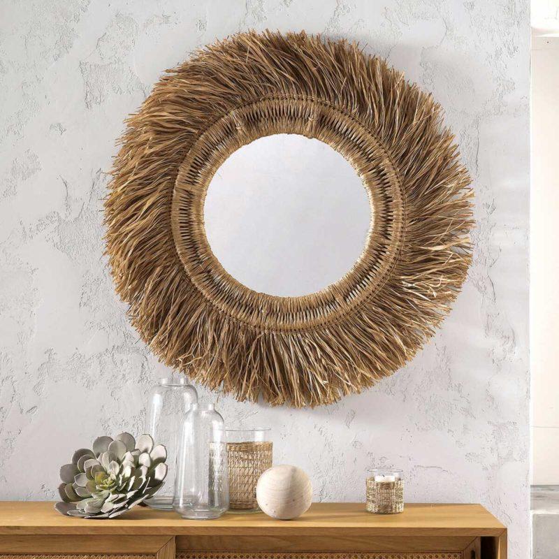 Grand miroir circulaire déco en rotin et sisal