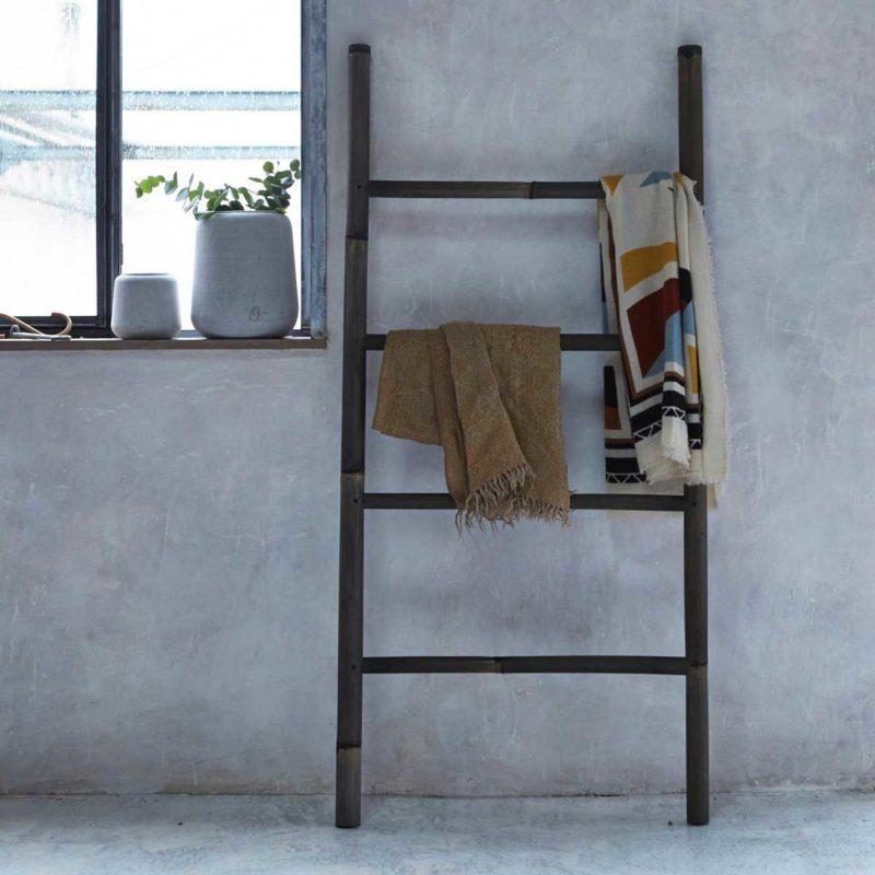 Large porte-serviettes échelle en bambou pour salle de bains