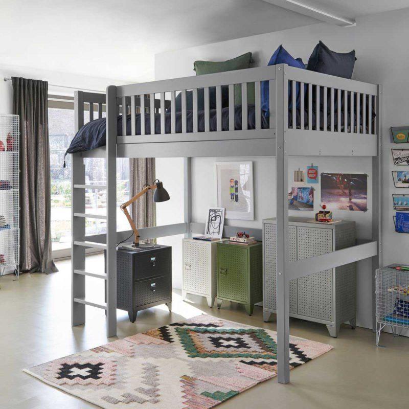 Lit mezzanine gris deux places pour enfants