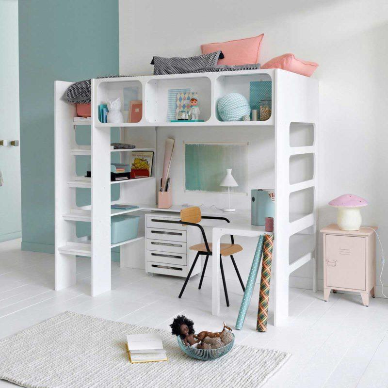 Lit mezzanine blanc pour enfant avec bureau en-dessous