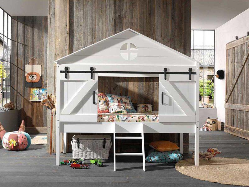 Lit mezzanine enfant cabane avec portes