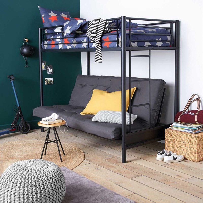 Lit mezzanine en métal noir pour ado avec canapé clic-clac en-dessous