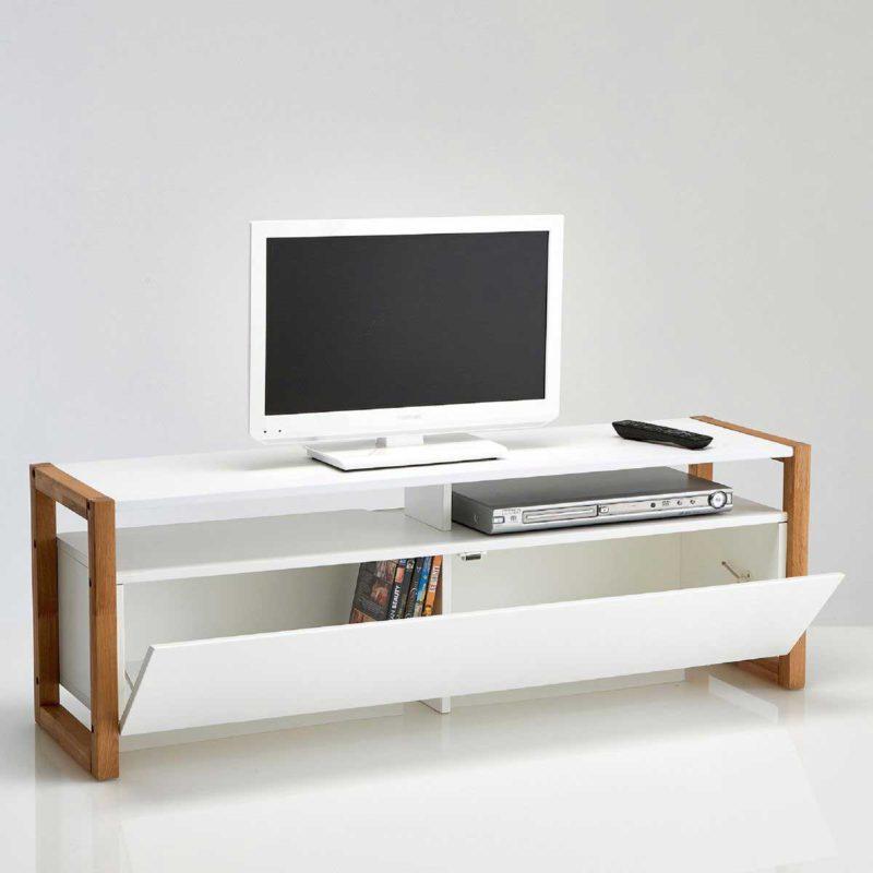 Meuble TV blanc scandinave avec rangement de 120 cm