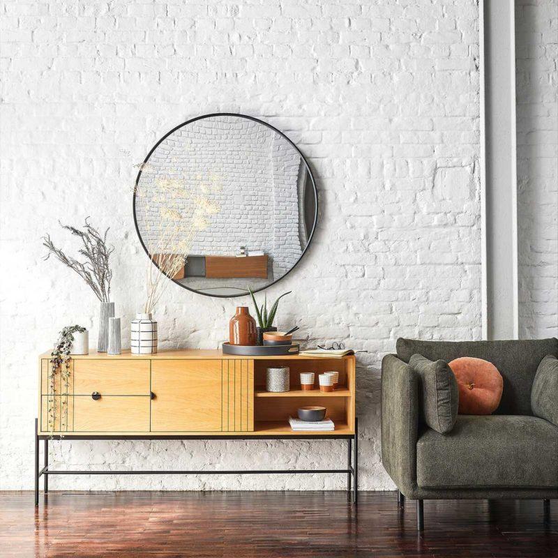 Grand miroir rond design de 120 cm de diamètre