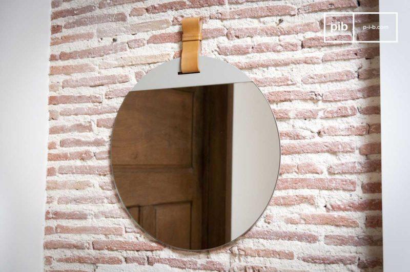 Miroir rond à suspendre avec lanière cuir