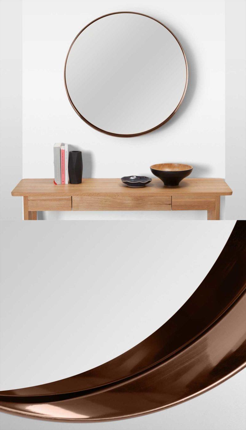 Miroir rond finition cuivre 80 cm