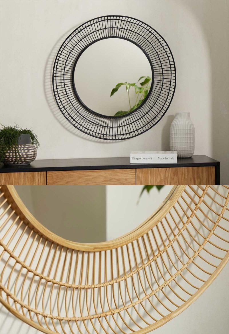 Miroir rond en bambou