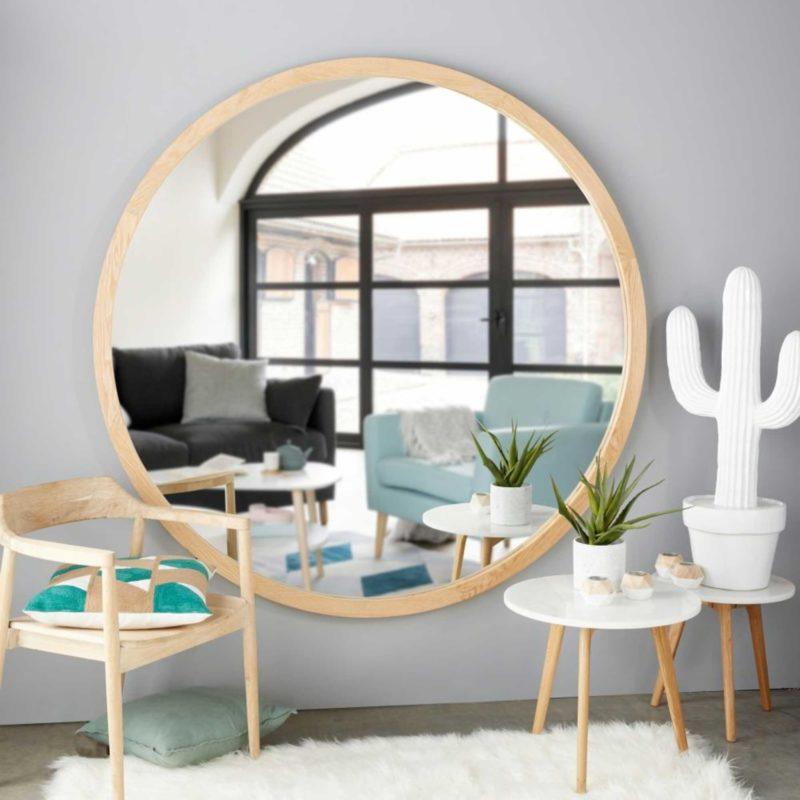 Miroir rond en bois au format XXL