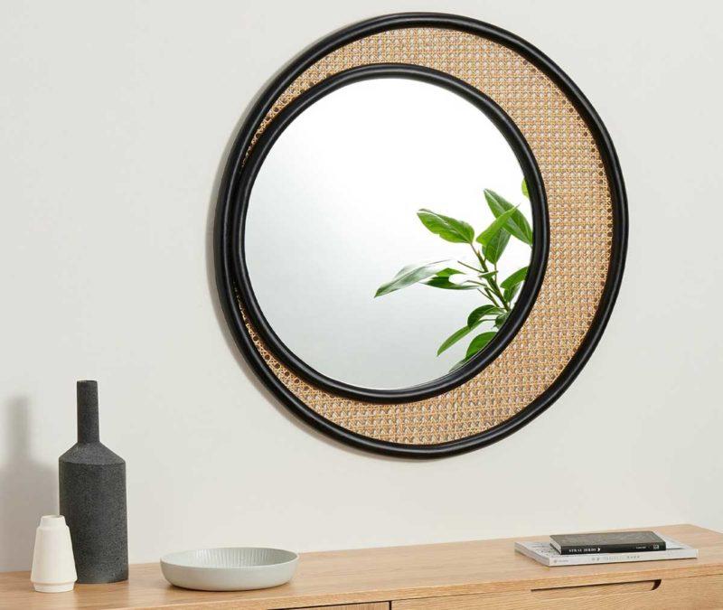 Miroir rond en cannage 80 cm